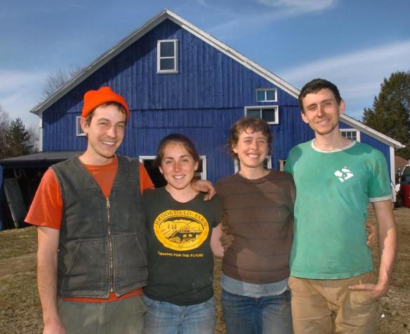 ERREY ROBERTS Stone Soup Farm Co-op founders Jarrett Man, from left, Susanna Harro, Amanda Barnett and David DiLorenzo Tuesday at their farm in Hadley.